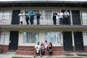 Families at apartment complex