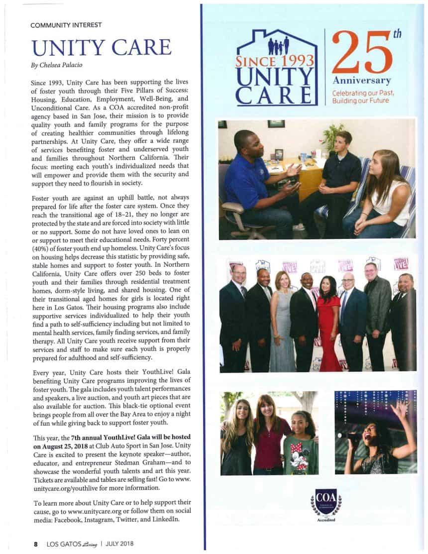 Los Gatos Living Magazine — Unity Care: Community Interest